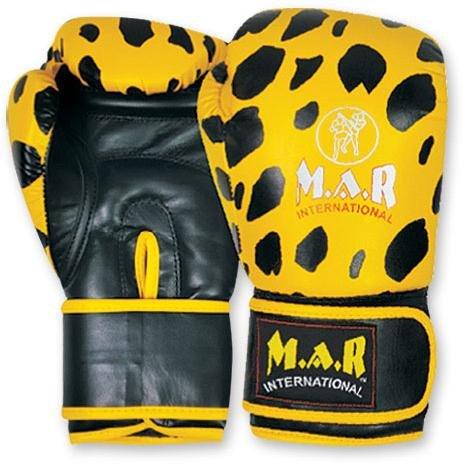 M.A.R International Ltd. Boxhandschuhe für Kickboxen, Thaiboxen, MMA, Muay Thai, Leoparden-Design, gelb/schwarz, 340,2 g (12 oz)