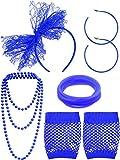 Blulu Accesorios de Disfraz de los Años 1980 Diadema Pendinetes de Encaje Guantes de Red Collar Pulsera para Fiesta de 1980 (Azul Real)