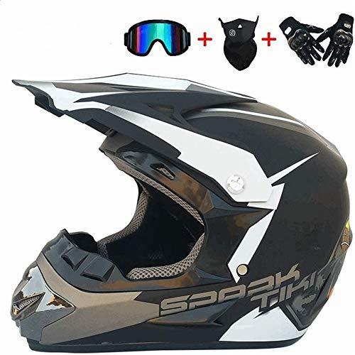 WYWZDQ - Casco de moto fuera de la carretera casco de ciudad, casco de motocross, personalidad creativa, casco de bicicleta de montaña, guantes gafas (4 compartimentos) negro y blanco (XL)