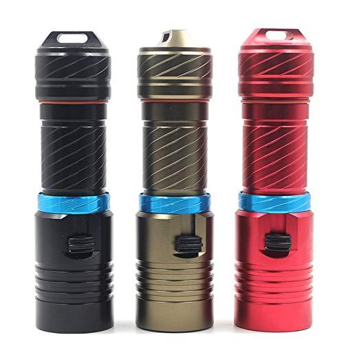 EPOWAD Dispositivo de iluminación, 1 linterna LED de 5000 lúmenes, XML L2, subacuática, 80 metros, para camping, tiempo de funcionamiento de 20 h (color del cuerpo: rojo, color emisor: opción A)