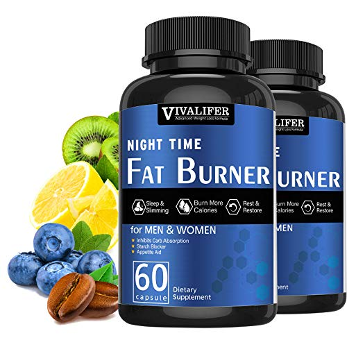 Night Time Fat Burner, 2PACK Weight Loss Diet Pills for Men and Women, Appetite Suppressant, Promote Metabolism, Inhibits Carb Absorption and Sleep Supplement - 60 Capsules