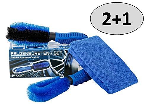 ZWICKER® Premium Felgenbürste 3er Reinigungset mit Mikrofasertuch I Autowaschbürste zur effektiven Felgenreinigung von Alufelgen | Bürste für Autoreinigung I Felgenbürste 2Stück Microfasertuch