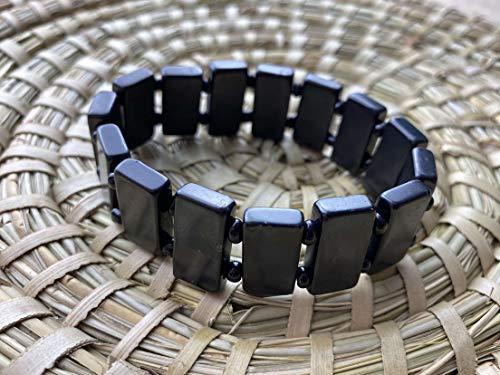 Naturesupplies Schungit Stonehenge Armband poliert 20–10 mm x 18 cm, authentischer Schmuck aus Russland, stoppt 5G WiFi von elektrischen Geräten, britischer Lieferant