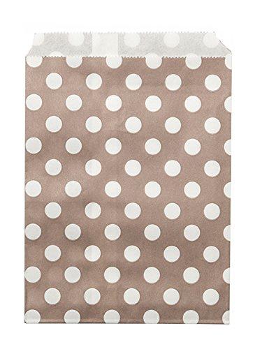 24 Sachets papier taupe à pois blancs
