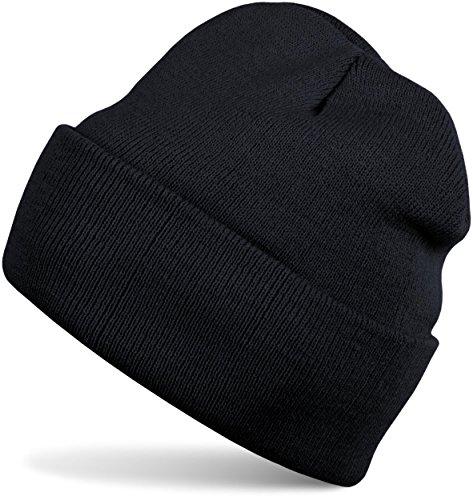 styleBREAKER Klassische Beanie Strickmütze für Kinder, Feinstrick Mütze doppelt gestrickt, Kindermütze 04024030, Farbe:Schwarz