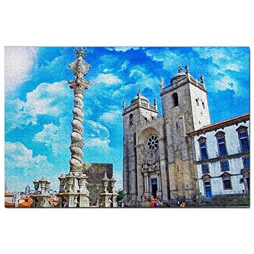 Portugal Catedral de Oporto Puzzle 1000 Piezas para Adultos Familia Rompecabezas Recuerdo Turismo Regalo