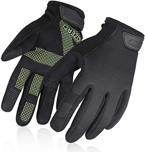 OZERO Arbeitshandschuhe mit Touchscreen-Fingern,Mechaniker-Handschuhe mit Rutschfester Handfläche, für Gartenarbeit und Reparatur, für Herren und Damen,Grünes Palmsilicon Gel