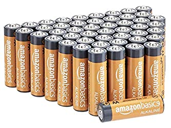 Amazon Basics 48 Pack AA High-Performance Alkaline Batteries, 10-Year Shelf Life, Easy to Open Value