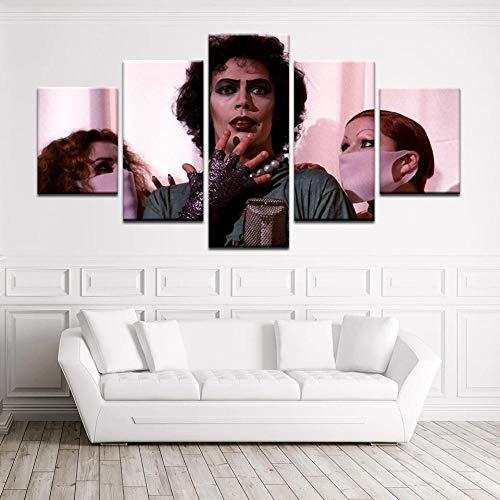 YOPLLL Bilder Vlies Leinwandbild 5 TLG Kunstdruck Modern Wandbilder XXL Wanddekoration Design Wand Bild Die Rocky Horror Picture Show 150X80 cm (Gerahmt)