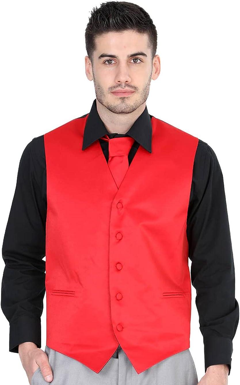 El General Men's Formal Dress Vest Color Red 100% Polyester Five Buttons