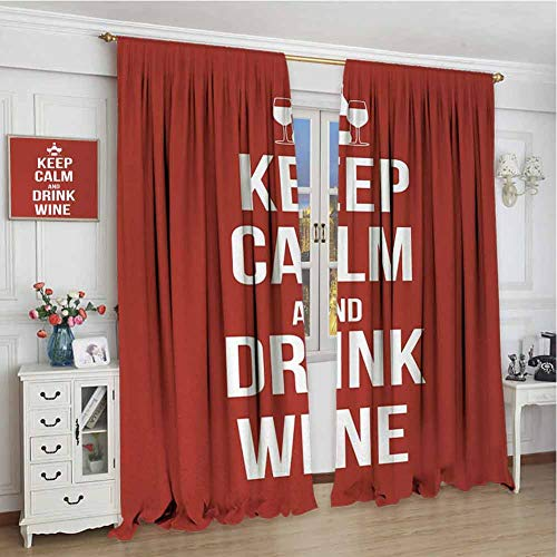 Geluiddicht gordijn W108 x L84 inch, thermisch geïsoleerd licht blokkeren Drapes voor Slaapkamer, Blijf kalm, Wine Thema met een fles en twee glazen Populaire Slogan Over Alcoholische drank, Ruby White