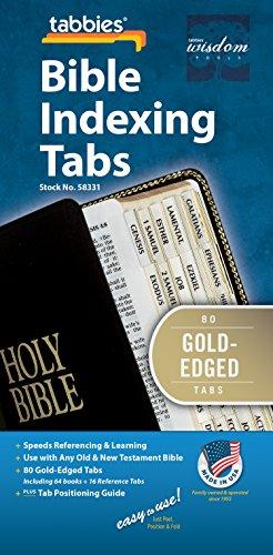 Tabbies Gold -Edged Bible Indexing Tabs, Old & New Testament, 80 pastiglie con 64 libri e 16 tabelle di riferimento (58331), da 7' a 12'.