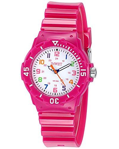 INWET Relojes Para Niña Chicas Reloj Deportivo Para Niñas Impermeable Relojes Infantil Blanco Rosa