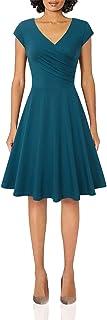 Lotusmile Womens Long Sleeve Elegant Dress,V Neck A Line Casual Dress