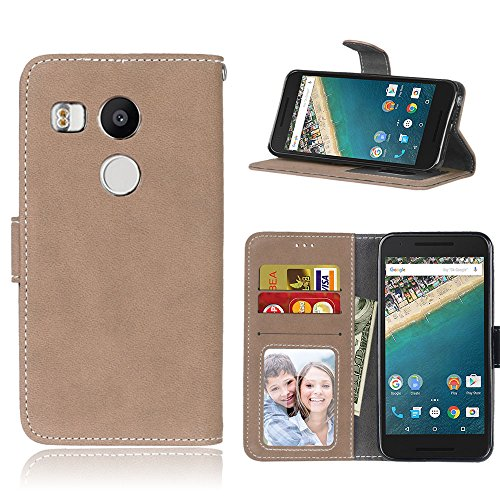 "Janeqi per LG Google Nexus 5X(5.2"") Cover Custodia - Borsa Vintage in Pelle Flip con Trattamento Anti-Caduta Case Cover - H8/Beige"