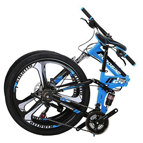 Eurobike G4 Mountain Bike 21 Speed Steel Frame 26 Inches Wheels Dual Suspension Folding Bike Blue
