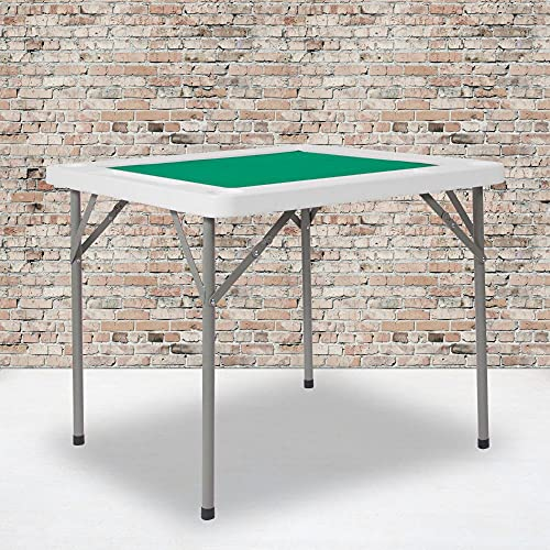 Flash Furniture 34.5' Square 4-Player Folding Card Game Table with Green Playing Surface and Cup Holders