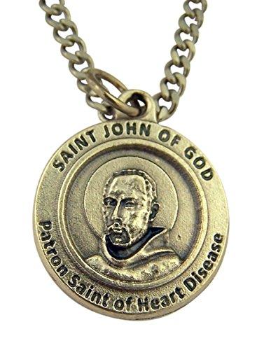 Silver Tone Saint John of God Patron of Heart Disease Medal on Chain, 3/4 Inch