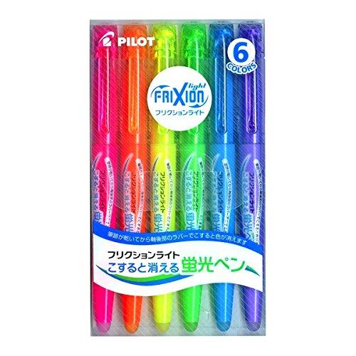 Pilot フリクションライト 蛍光インク 消せるハイライトペン 5パック (ピンク/オレンジ/イエロー/グリーン/ブルー/バイオレット)
