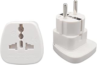 INIBUD Pack of 2 AU Australia NZ to EU Europe Travel Adapter White Schuko Plug