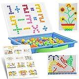 LOVEXIU Toys Mosaic 300 Piezas,Puzzle 3D Mosaico,Creativos Peg Rompecabezas,Mushroom Nails Jigsaw con Plantilla y Tablero,Juguete Educativo Temprano para Infantiles Niños y Bebés de 3+Años