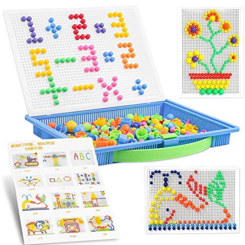 Chiodini per Bambini 300 Pcs,Funghi Chiodi Giocattoli,Giochi per Bambina i Chiodini,Mushroom Nails,Mosaico Pioli con Pegboard Montessori,Apprendimento Regali Educativi Puzzle per Ragazzo & Ragazze