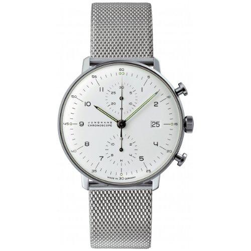 Junghans Herren-Armbanduhr XL Max Bill Chronoscope Chronograph Automatik Edelstahl 027.4003.44