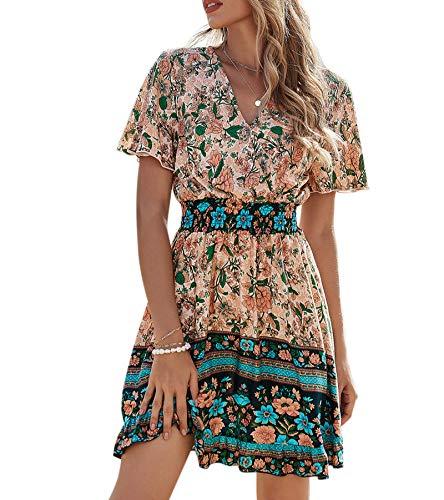 GOROLDA Women's Dress 2021 New Summer Sexy V Neck Short Sleeve Ruffle Floral Dress High Waist Short Mini Dress