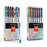 Arteza Glitter and Metallic Gel Pens Bundle, Drawing Art Supplies for Artist, Hobby Painters & Beginners