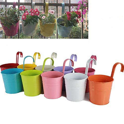 MoBetter Iron Hanging Flower Pots Balcony Garden Plant Planter, Wall Hanging Metal Bucket Flower Holders Detachable Hook Multicolor 10PCS
