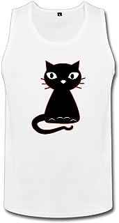 YOKOあさの 成人 ファッション 可愛い 黒い 猫ちゃん タンクトップ 100%棉 White