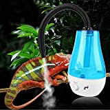 HEEPDD Reptilien Luftbefeuchter,Kriechtier Befeuchtungseninrichtung Wassertank Kein Lärm Cool Nebelmaschine mit verstellbarem Knopf für Echsen Chamäleon Schlangen Terrarium EU Stecker 100-240V (3L)