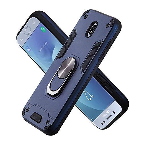 Armure Coque Samsung Galaxy J530 / J5 Pro, Boîtier PC + TPU Double Layer Housse résistant aux Chocs avec Support à Anneau Rotatif à 360 degrés (Bleu Royal)