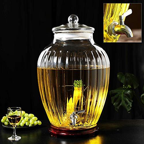 Sun Tea Jar Drink Dispenser en Glas Deksel RVS Spigot Huis & Keuken Glaswerk Water Pitcher voor Sap/Bier/Kombucha/Cold Drinks, Enorme 10~30 L ~