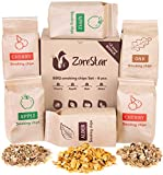 Zorestar Wood Chips for Smokers - 6 pcs Variety Pack of Oak | Alder | Cherry | Apple Chips for Smoking and Grilling + Bonus e-Book