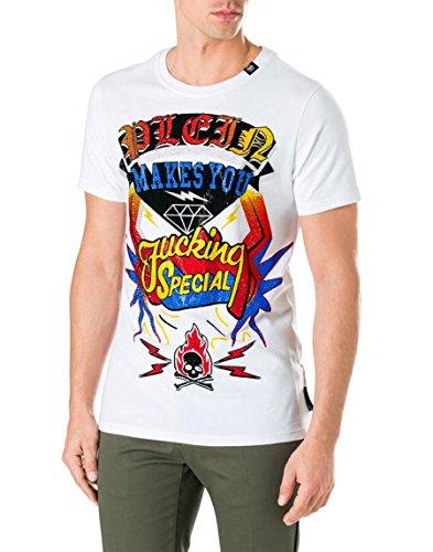 Philipp Plein Camiseta Cuello Redondo SS Vuelo Especial, Blanco