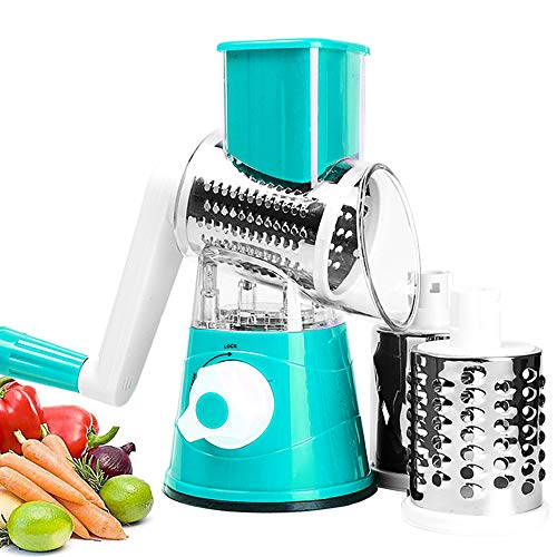 Toopower Shredder Cabbage Grater for Vegetables Cheese Cutter Multi Slicer Manual Chopper Spiralizer 3 in 1 Kitchen Accessories Gadgets (Color : Blue)