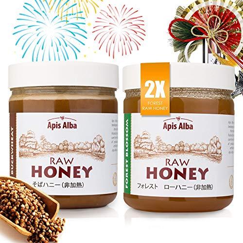 【Amazon.co.jp限定】 非加熱 無殺菌 ハニー セット品 フォレスト純粋生はちみつ×2 / そば生はちみつ ギフトセット お正月セット Ochogatsu Raw Honey Gift Set: 2x Forest Raw Honey 624g,