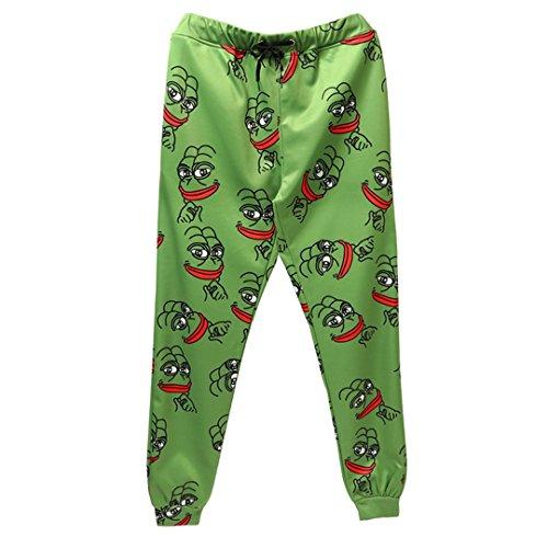 Pantalons de Jogging 3D la Grenouille Hommes/Femmes Funny Cartoon Sweatpants Nouveau Pantalon Jogger Pants Pantalon Taille élastique Green XL