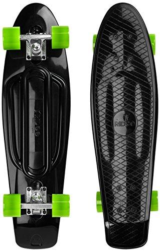 Ridge Skateboards Recycled Cruiser Skateboard, Nero/Verde, 27'