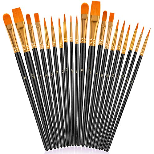 Soucolor Acrylic Paint Brushes Set, 20Pcs Round Pointed Tip Artist Paintbrushes for Acrylic Painting Oil Watercolor Canvas Boards Body Face Rock Easter Eggs, Adult Kids Drawing Arts Crafts Supply