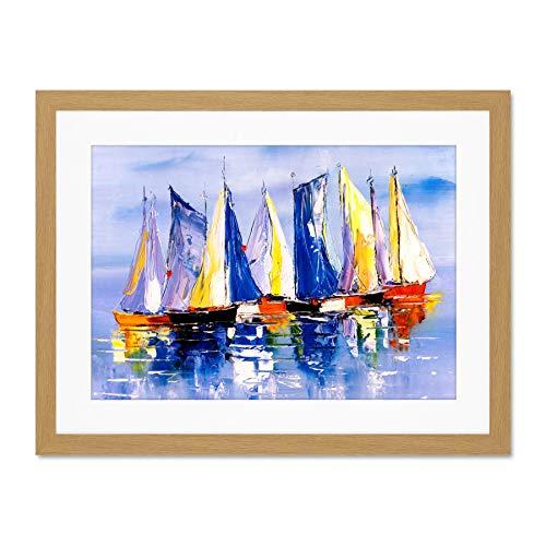 Wee Blue Coo Boats Sailing At Sea Póster de Pared de Cuadros Grandes Enmarcado 18x24 Pulgadas