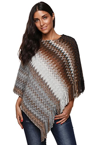 SherryDC Women's Zig-Zag Knit Tassel Fringed Pullover Poncho Sweater Cape Shawl Wrap White+coffee One Size