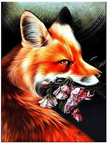 Juego de pintura de diamante para principiantes 5D DIY trabajo artesanal Animal fox cute fox reading foxhome wall and entrance decoration