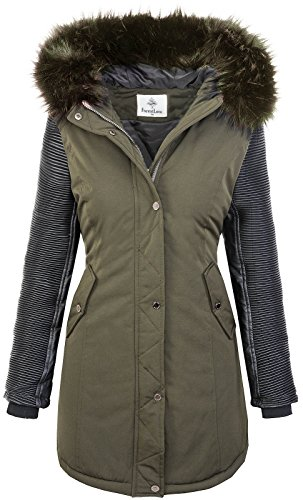 Rock Creek Damen Jacke Winter Parka Bikerjacke Winter Mantel Outdoorjacke Damenmantel Damenparka Kunstleder Ärmel Kunstpelz Kapuze D-347 Dunkelgrün XL