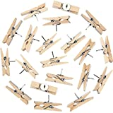 Push Pins with Wooden Clips Pushpins Tacks Thumbtacks for Cork Boards Artworks Notes Photos and Craft Projects (50)