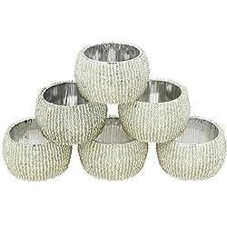 Handgemachte Indische Silber Perlen Serviettenringe - Set von 6 Ringen