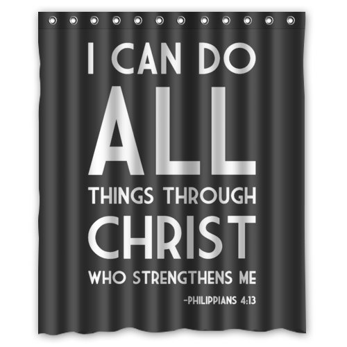 "WECE Popular 60""(Width) x 72""(Height) Bible Verse I can do All Things Through Christ who Strengthens me Philippians 4:13 100% Polyester Bath Curtain"
