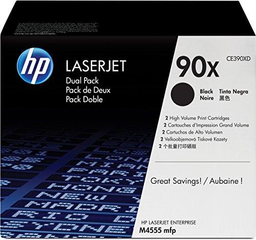 HP 90X 2er-Pack (CE390XD) Schwarz Original Toner mit hoher Reichweite für HP Laserjet Enterprise M4555 mfp