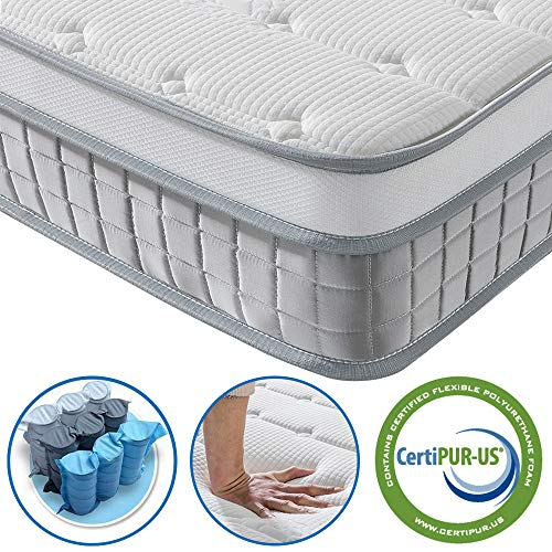 Vesgantti 4FT Small Double Mattress, 9.6 Inch Pocket Sprung Mattress Small Double with Breathable Foam and Individually Wrapped Spring - Medium Firm Feel, Modern Box Top Collection